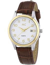 MC Timetrend Damen-Armbanduhr bicolor, braunes Lederband, Analog Quarz 51268
