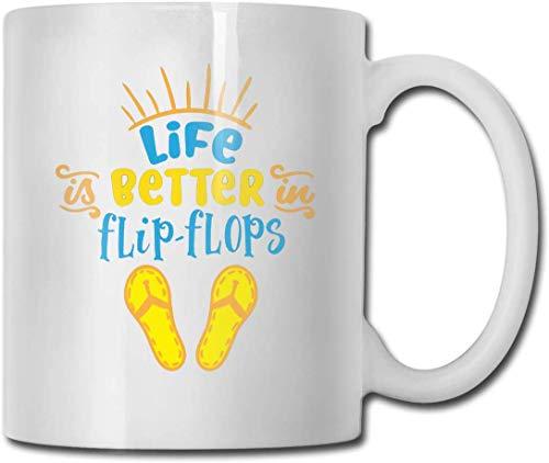 Das Leben ist besser in Flip Flops 11 Unzen weiße Keramik glänzend Mug Mit großem C-Griff