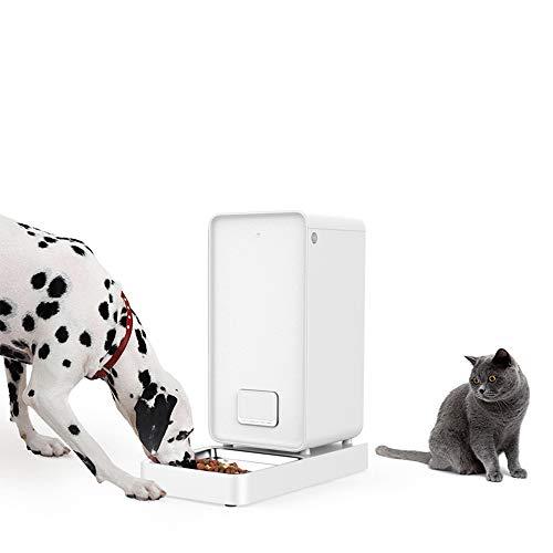 PURROMM Alimentador Inteligente para Perros y Gatos Alimentador no está atascado Sistema de Bloqueo Doble Fresco Inteligente Mascotas Control de WiFi de Alimentos Dispensador para iOS y Android,White