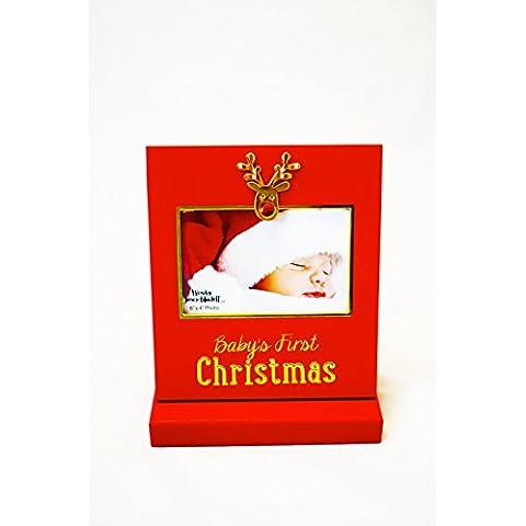 Cornice portafoto Bambino Primo Natale rosso nuovo mio regalo decorazioni