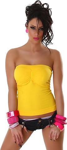 Bandeau Top Shirt Push-Up Feinripp 32-36 und 38-40 - verschiedene Farben (one size 38-40, Gelb)