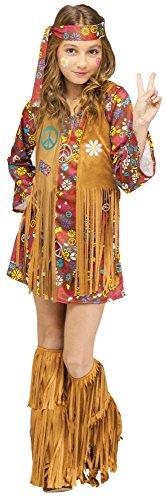 Kostüme Kinder Jahre Siebziger Für (Peace and Love Hippie Kinder-Kostüm für Mädchen Groovy 60's Woodstock Sixties, Kindergröße:134 - 8 bis 10)
