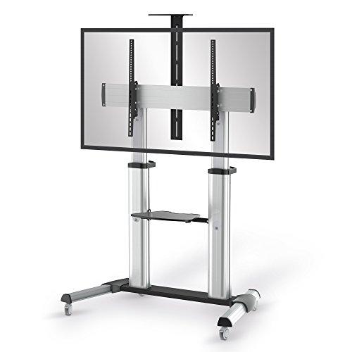 conecto LM-FS03G Professional TV-Ständer Standfuß für Fernseher Flachbildschirm LCD LED Plasma höhenverstellbar 55-100 Zoll (152-254 cm, bis 100 kg Tragkraft) max. VESA 1000x600mm, Aluminium, silber (Tv-ständer Für Flachbildschirme 55)
