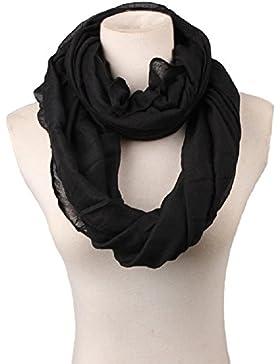 TININNA Mujer Otoño Invierno Bufanda Babero Cuello redondo Bufandas Chal Largo Calentar Bufandas De Puro Negro