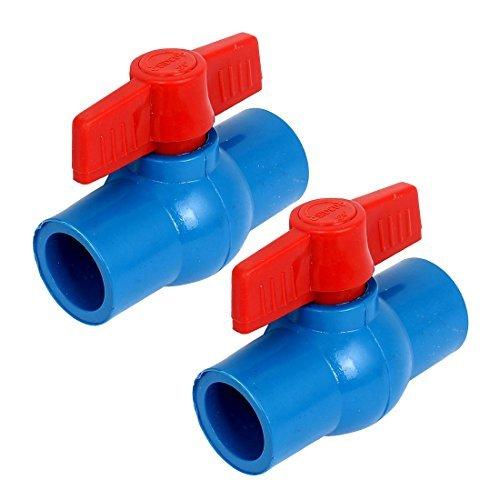 eDealMax 25 mm à 25 mm d'alimentation en eau pleine Port U-PVC Vanne à boisseau sphérique tuyaux 2pcs Montage - Fin Montage