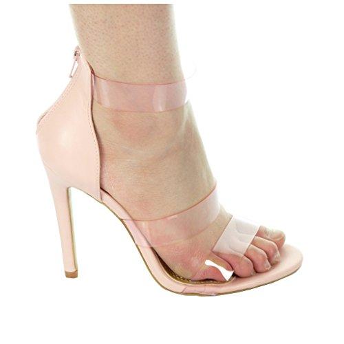 Angkorly damen Schuhe Pumpe - Stiletto - Offen - String Tanga - transparent Stiletto 11 CM Rosa