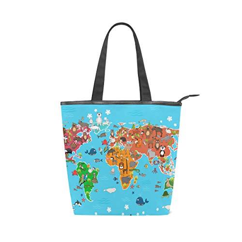 Jeansame Einkaufstasche aus Segeltuch für Damen, Shopper, Tragegriff, Schultertasche, mit Reißverschluss, Sommer, Ozean, Meer, süße Tier-Weltkarte (Ozean Süße Tiere)