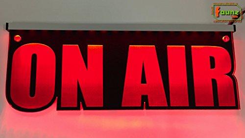 "LED Leuchtschild Acrylglas Gravur ""On Air"" rot opak, Farbe + Montage wählbar, Konturschnitt, inklusive Steckernetzteil 230-12V Tonstudio Radio"