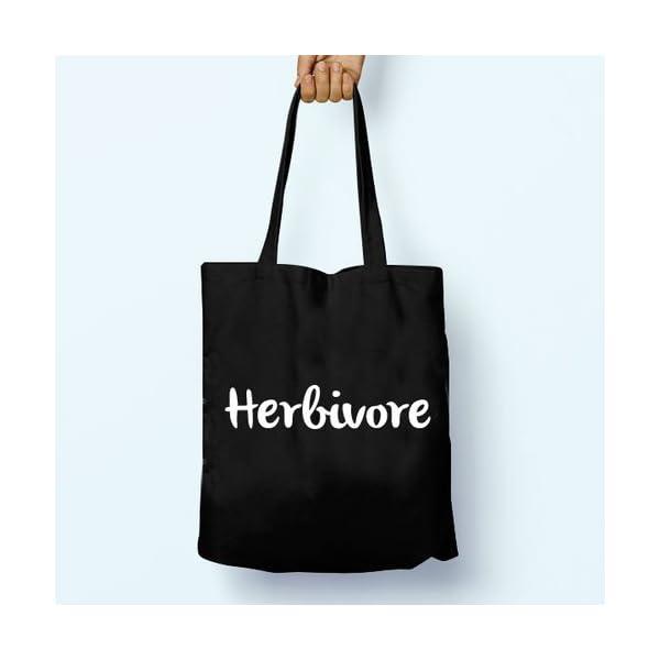 Herbivore Vegan Vegetarian, Illustrated, Shoulder, Tote, Long Handles, Graphic, Cute, Tumblr, Hipster, Beach, Gym, Festival, School, Bag - handmade-bags