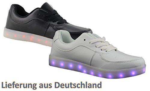 LED Schuhe Erwachsene Teens Unisex Weiss oder Schwarz Versand Aus Deutschland Sneaker Blinken Farbwechsel Weiß