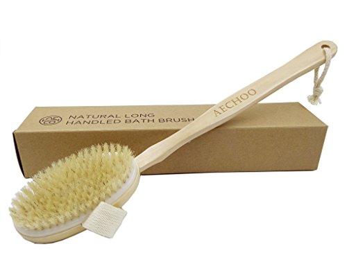 Aechoo Brosse pour le corps en poils naturels à manche long en bois avec tête amovible pour spa