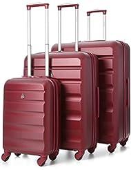 Aerolite Maleta, granate (Wine) (Rojo) - ABS325 Wine 3 PCS Vendor