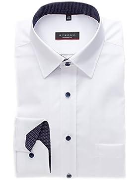 Eterna Modern Fit extra langer Arm 68 cm uni weiß langarm Hemd bügelfrei Patch