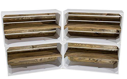 """Kontorei® Breite weiße Holzkiste mit \""""Used\"""" Mittelbrett 75cm x 40cm x 31cm 12er Set Obstkiste Weinkiste Weiss quer Zwischenfach braun Garten Dekoration Schuhregal Holz gebraucht alt"""