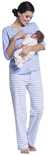 Zeta Ville - Maternité nuisette grossesse pyjama nuit allaitement - femme - 394c Bleu Clair