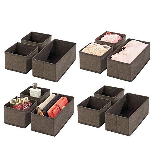mDesign 12er-Set Aufbewahrungsbox - atmungsaktive Stoffbox für Socken, Unterwäsche, Leggings etc. - vielseitige Schubladen Organizer für Schlaf- und Kinderzimmer - braun -