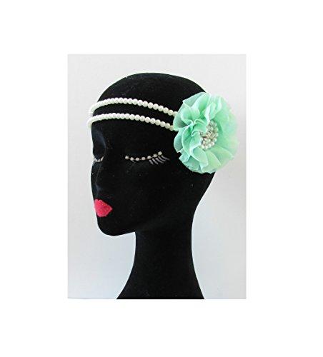 Vert Menthe Blanc Perle Fleur Coiffe Flapper Bandeau style vintage années 1920 ANNÉES 30 S75 * * * * * * * * exclusivement vendu par – Beauté * * * * * * * *