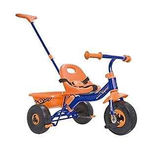 kinder dreirad f r kinder ab 2 jahre blau orange mit lenk u schiebestange spielzeug. Black Bedroom Furniture Sets. Home Design Ideas