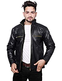Life Trading Fashionable Faux Leather Jacket for Men and Boys(Black)