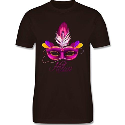 Karneval & Fasching - Maske Helau - Herren Premium T-Shirt Braun