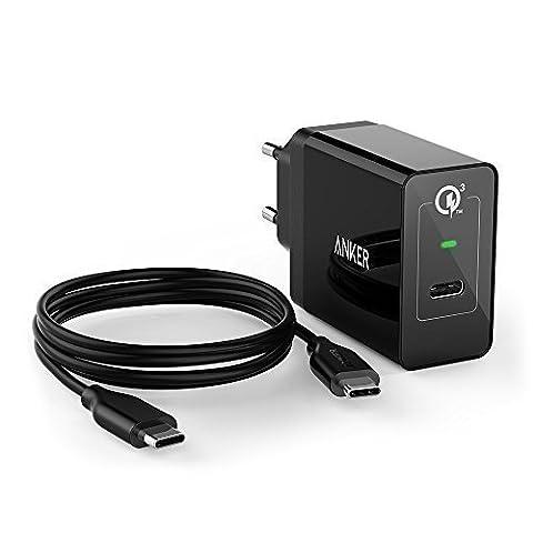 Anker PowerPort+ 1 24W USB C Ladegerät, USB Schnellladegerät mit Typ C & Quick Charge 3.0 für Samsung Galaxy S8 / S7 / S6 edge, Macbook 2016, Nexus 5X / 6P / Sony XZ [mit 90cm USB C Kabel]