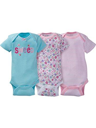 Gerber Baby Girls Onesies Bodysuits 3 Pack Sweet 0-3 Months -