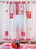 NOVITESSE Kinder Vorhang Gardine Dekoschal blau und pink für Kinderzimmer 180X100 mit Schlaufen Pink und Blau (Eule Pink)