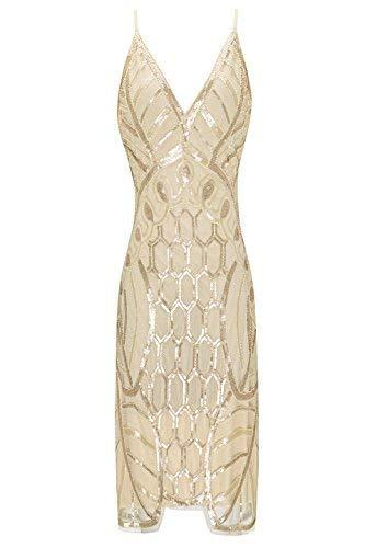 Metme Damen 1920er Jahre Gatsby Party Vintage Pailletten Ärmelloses Flapper V-Ausschnitt Cocktail Abendkleid