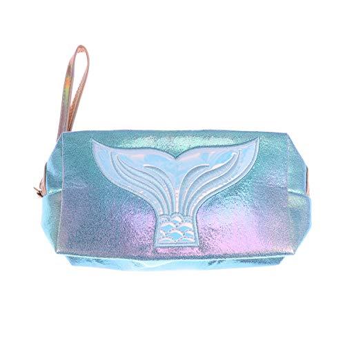 Fenical Armband Kupplung Meerjungfrau holographische Make-up Taschen Laser Handtasche für Frauen Damen - blau -