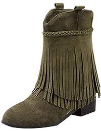 YE Damen Flache Stiefeletten Cowboy Western Stiefel Fransen Boots  Schlupfstiefel Bequem Winterboots Freizeit Schuhe 183ab9b66e
