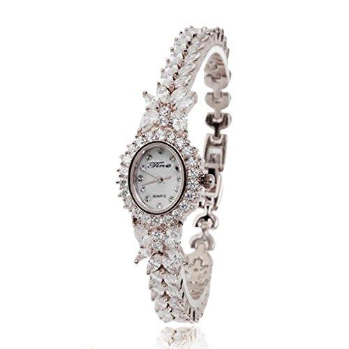 Hjxjxjx diamante alla moda donna multislice rosa oro e argento cinturino di rame impermeabile orologio al quarzo braccialetto , white , female