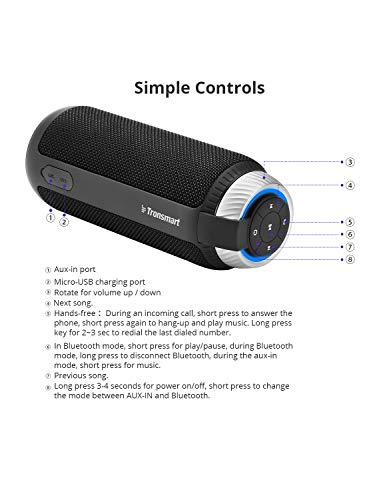 Altavoz Bluetooth, Tronsmart T6 Estéreo Premium 25W con Radiador Pasivo, Subwoofer Inalámbrico Portátil con 15 Horas de Emisión Continua Manos Libres- Negro