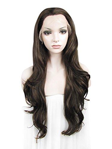 Imstyle meilleures VENTES Extra long Courroie Wavy Texture 66 cm Couleur Marron naturel synthétique Lace Front Perruque Haïfa Wehbe Style