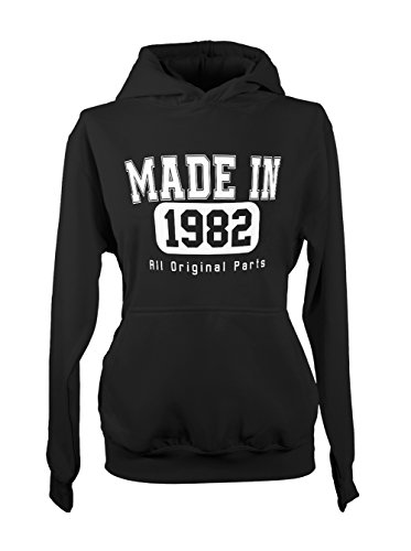 Made In 1982 All Original Parts Birthday Cool Amusant Gift Femme Capuche Sweatshirt Noir