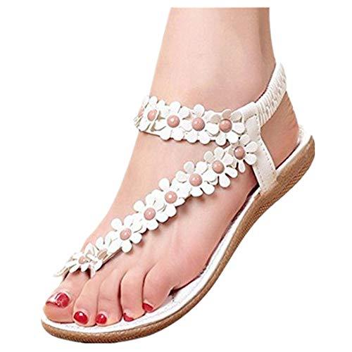ZODOF Sandalias de Verano para Mujer Peep-Toe Zapatos Bajos Sandalias Romanas Chanclas de Damas Plano...