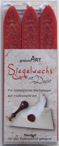 gravurART - Siegelwachs mit Docht in Rot, 3 Stangen für flexible Wachs-Siegel