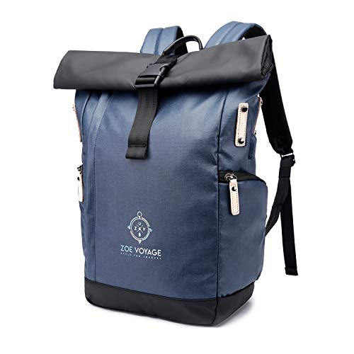 Rolltop Rucksack ZOE Voyage |Blau| Roll Top für Uni Reisen,Job,Damen und Herren| hochwertig, wasserabweisend| stylisher Laptop Rucksack mit Laptopfach 15,6 Zoll | Tagesrucksack