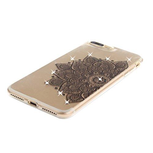 iPhone 7 Plus Schutzhülle, Rosa Schleife iPhone 7 Plus Crystal Case Handyhülle Ultra Dünn TPU Silikon Backcover Durchsichtig Gel Case Diamond Bling Schutzhülle klar für iPhone 7 Plus mit Mandala Sonne a - Schwarz Halbe Blume