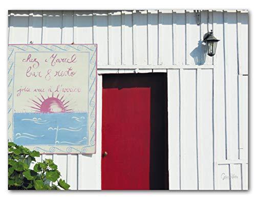 Chez Marcel - Exklusives Künstlermotiv, XXL Bild / Wandbild, Größe: 80 x 60 cm Quer-Format, Digital-Druck auf Art Canvas Leinwand, Keilrahmen 2 cm. Frankreich Haus Hütte weiß rot Bild groß Kunst