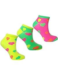 Ladies & Girls Neon Trainer Socks Acrylic Summer Ankle Liners 3 Pair Multi Pack