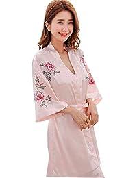 3bae2be4ad GJFeng Pijamas De Satén para Mujer Primavera Y Verano Bata De Manga Larga  con Estampado Sexy
