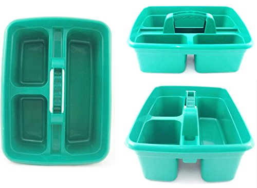 green-plastic-cleaning-caddy-cleaners-carry-all-basket-tote-tray