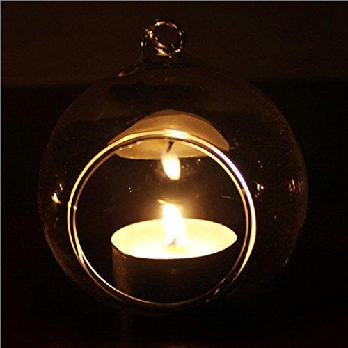 wuayi Kristall Glas hängenden Kerzenhalter Romance-Home Hochzeit Party Abendessen Decor, Borosilikatglas, A (Terrasse Tisch Ring)