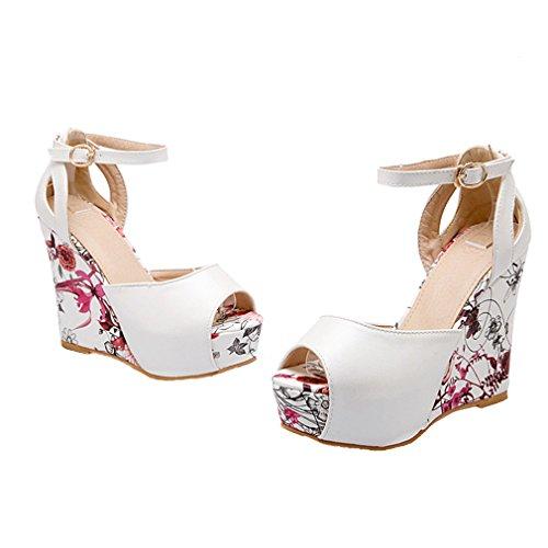 YE Damen Peep Toe Wedges Knöchelriemchen High Heels Plateau Pumps Sandalen  mit Keilabsatz Schuhe Weiß ...