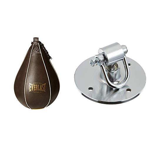 Everlast Speedball - Punching Ball Vintage, in Similpelle & 4444 Professional Speed Bag Swivel, Gancio Sacco da Boxe