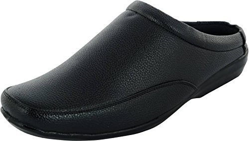 ALESTINO Men's Black Men Open PATENT LEATHER look Casual Slippers 133