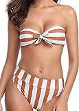 Tuopuda Costume da Bagno Donna Vita Alta Bikini Donna Mare Sexy Imbottito Push-up Beachwear Swimsuit (M, Striscia)