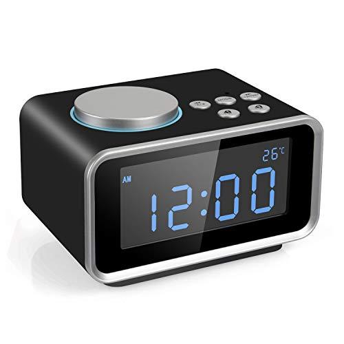 FM Radiowecker, Digitaler Wecker mit Dual-Alarm, Dual USB-Ladeanschluss, Snooze-Funktion, Innenthermometer, 6-stufige Helligkeit, 12/24-Stunden-Black - Cd-player-wecker Mädchen Für