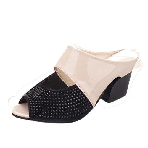 Frauen Sandalen Strass Thick Mid Heel Open Toe Farbe Block Dekoration Sandalen Beige