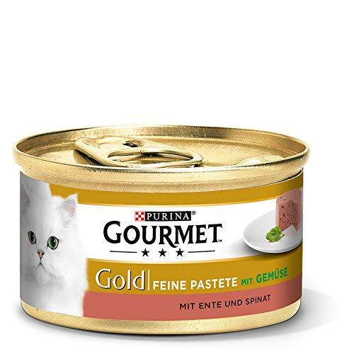 Gourmet Gold Katzenfutter Feine Pastete mit Ente und Spinat, 85 g